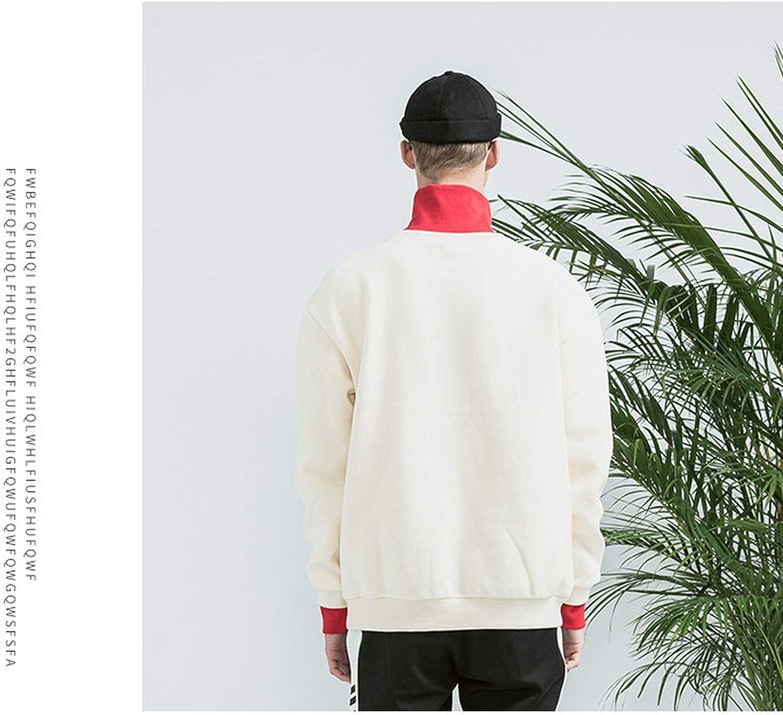 Men Fashion New Thick Fleece Hoodie Pullover for Men Streetwear Solid Sweatshirt Turtleneck Hoodies,Black,M