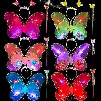 siwetg 4 Pezzi Ragazza LED Doppio Strato Ali di Farfalla Set Irregolari Animato Mesh Tutu Rock Fee Bacchetta Magica Fascia da Fronte Principessa Party Costume 2-8 T 5