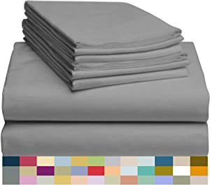 LuxClub 6 PC Bamboo Sheet Set w/ 18 inch Deep Pockets - Eco Friendly, Wrinkle Free, Hypoallergentic, Antibacterial, Fade Resistant, Silky, Stronger & Softer Than Cotton -Silver King
