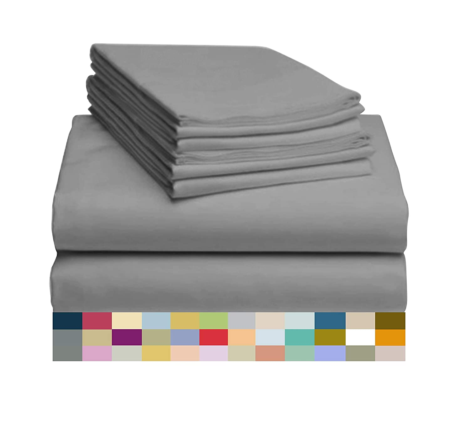 "LuxClub 6 PC Sheet Set Bamboo Sheets Deep Pockets 18"" Eco Friendly Wrinkle Free Sheets Hypoallergenic Anti-Bacteria Machine Washable Hotel Bedding Silky Soft - Light Grey Queen"