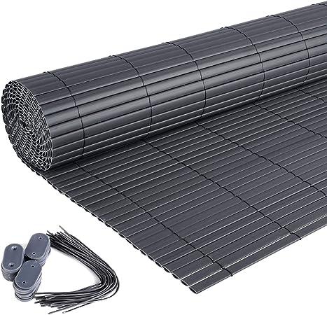 Image of Laneetal PVC Estera Protectora de Intimidad Doble Cara Pantalla de Privacidad contra el Viento para Jardín Balcón Terraza Gris 100(H) x 500(L) cm