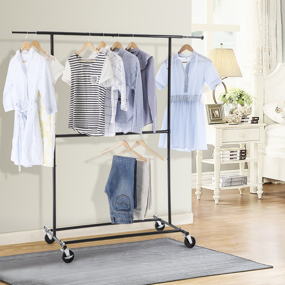 free standing clothes rack. SONGMICS Telescopic Double Rods Garment Rack Free Standing Rolling Clothes Heavy Duty Black ULLR80P