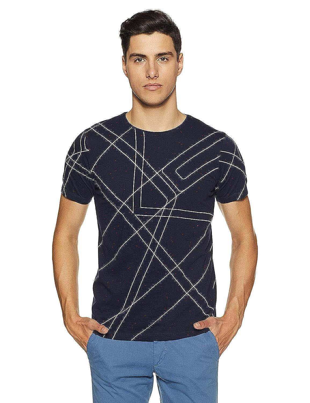 Indian Handicrfats Export Navy Blue Printed Slim Fit Cotton Mens T-Shirt