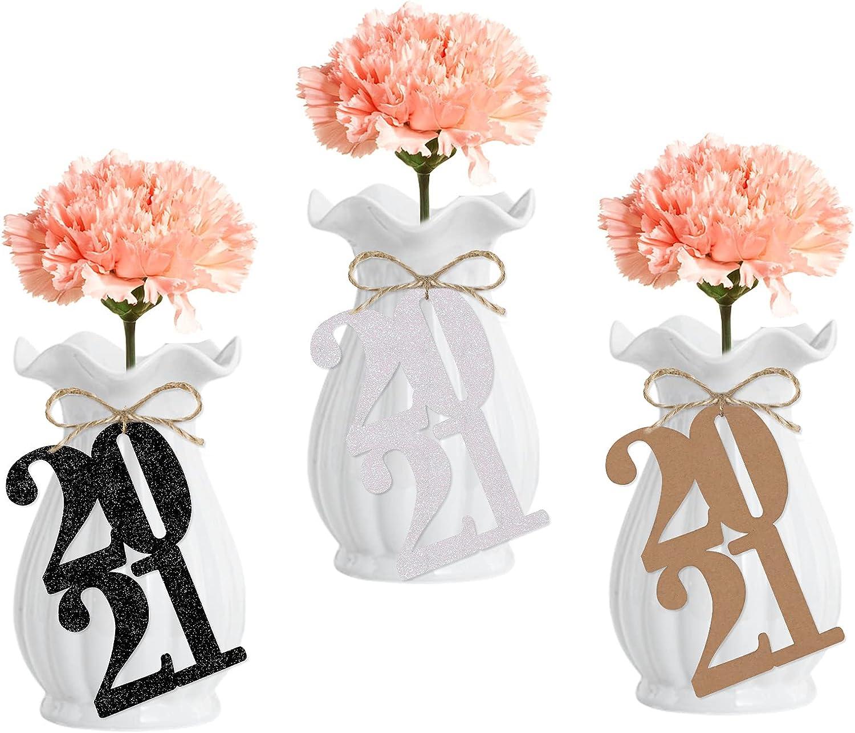 24Pcs Graduation Favor Tags for 2021 Graduation Party Decorations,Table Centerpieces- 2021 Tags(Glitter and Kraft Paper)