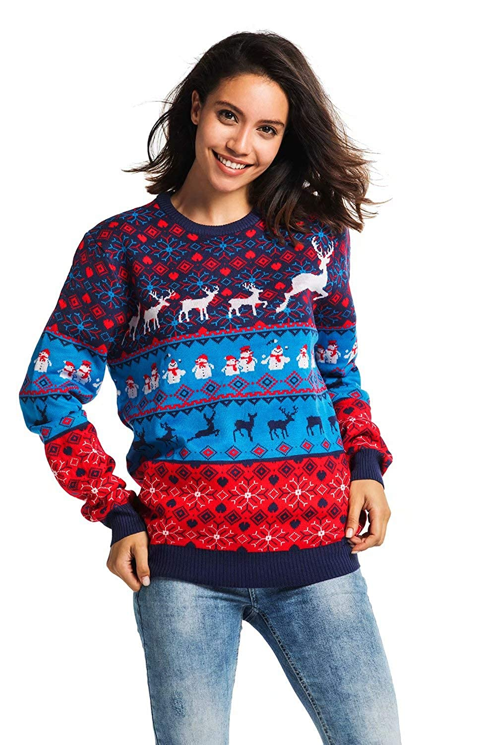 Unisex Women's Ugly Christmas Sweater Reindeer Xmas Pullover - Cool Classic Fair Isle