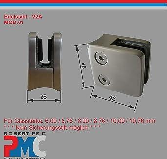 Edelstahl V2A Glashalter Glasklemme Glass Clamp Flacher  Anschluss MOD:01