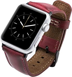 Venito Tuscany Leather Watch Band Compatible with Apple Watch 42mm 44mm - Watch Strap designed for iwatch Series 1 2 3 4 5 6 SE (Burnt Red w/ Black Connector & Clasp)