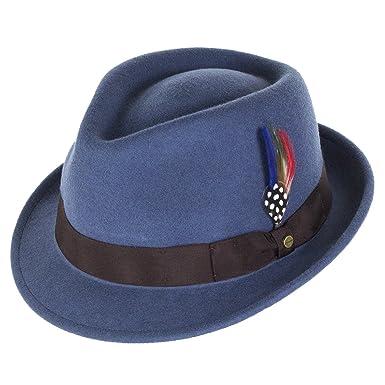468ae478d46ca Stetson Hats Richmond Wool Felt Trilby Hat - Blue  Amazon.co.uk  Clothing