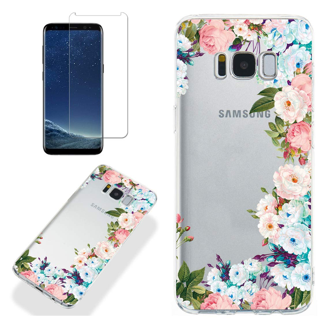 Clear Case for Samsung Galaxy S8 with Screen Protector,QFFUN Ultra Thin Slim Fit Soft Transparent Silicone Phone Case Crystal TPU Bumper Shell Shockproof Scratch Resistant Protective Cover - Flowers