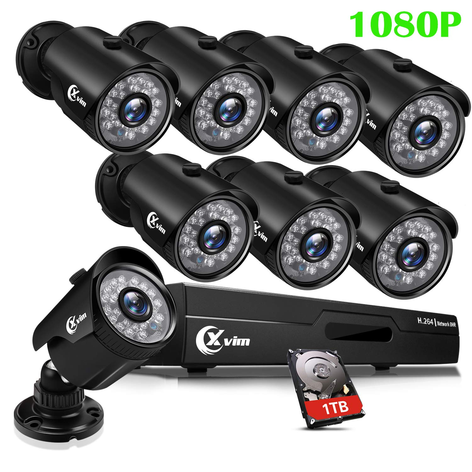 XVIM 8CH 1080P Security Camera System Outdoor with 1TB Hard Drive Pre-Install CCTV Recorder 8pcs HD 1920TVL Upgrade Outdoor Home Surveillance Cameras with Night Vision Easy Remote Access Motion Alert by X-VIM