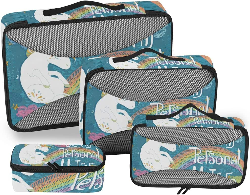 Rainbow Unicorn Blue Luggage Packing Cubes Organizers Toiletry Laundry Storage Bag Pouches Packable Cube 4 Various Sizes Set for Travel Kids Women