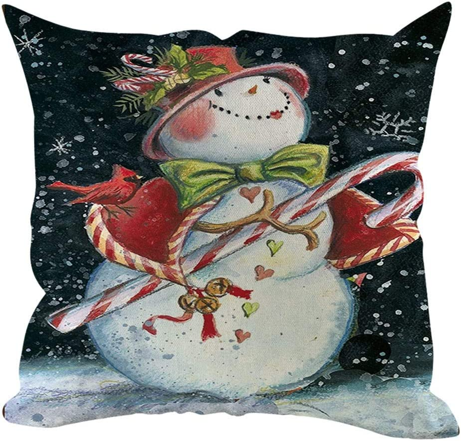Amazon Com Unionm 11 Pillow Covers Christmas Decor Throw Pillow Case Linen Snowman Merry Christmas Theme Printed Square 45 X 45 Cm 18 X 18 Inch Cushion Cover For Home Sofa Car 1 Pack