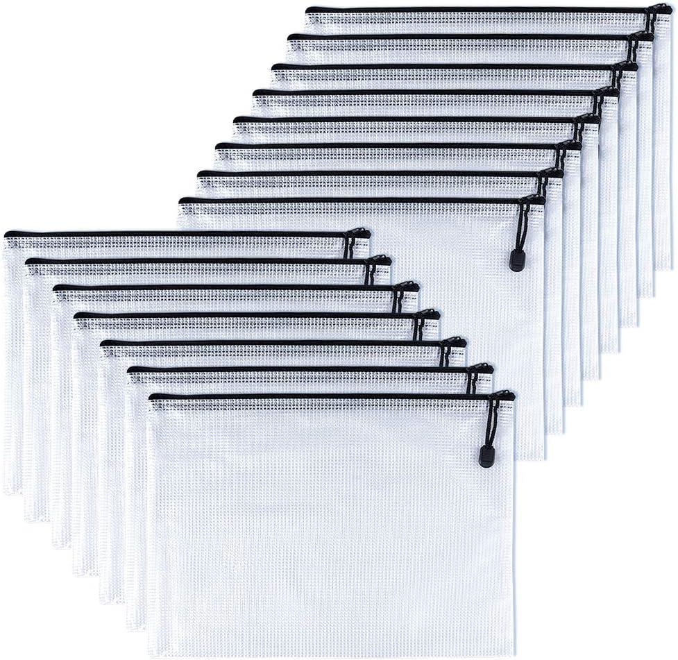 TUPARKA 15 piezas A5 bolsa de archivo de cremallera Carpetas de plástico con cremallera Bolsas de almacenamiento con cremallera pequeña, Negro