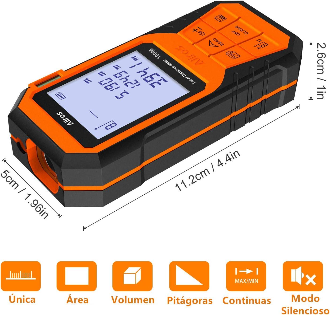 ALLROS T/él/ém/ètre Laser 100M Num/érique Portable compact avec grand /écran LCD r/étro-/éclair/é Calcule Distance Surface Volume//Fonction Pythagore//Fonction Muet //IP54 //Niveau /à Bulle