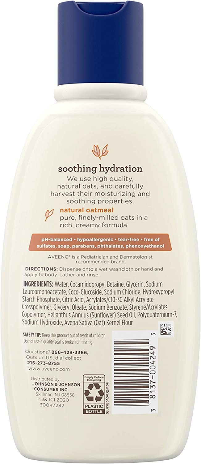 Aveeno Baby Soothing Relief Creamy Wash with Natural Colloidal Oatmeal for Dry & Sensitive Skin, Hypoallergenic & Tear-Free Formula, 8 fl. oz: Health & Personal Care