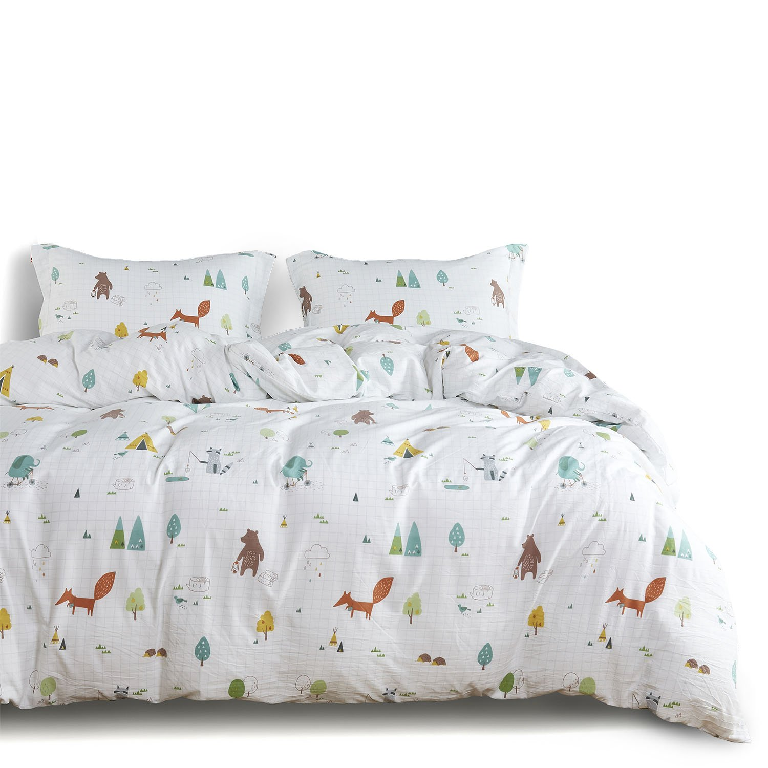 Wake In Cloud - Zoo Comforter Set Queen, 3-Piece Fox Elephant Bear Animals Cartoon Pattern Printed, Soft Washed Microfiber Bedding for Kids or Teens (3pcs, Queen Size) by Wake In Cloud (Image #1)
