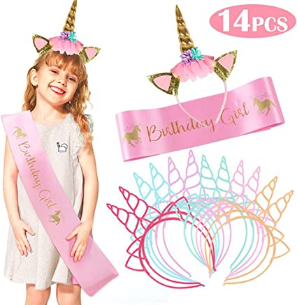 NEW Unicorn Headband and Pink Satin Birthday Girl Sash Set Party Supplies