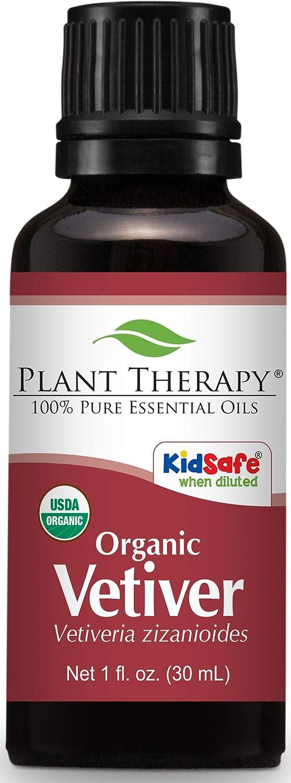 Plant Therapy Vetiver Organic Essential Oil 30 mL (1 oz) 100% Pure, Undiluted, Therapeutic Grade