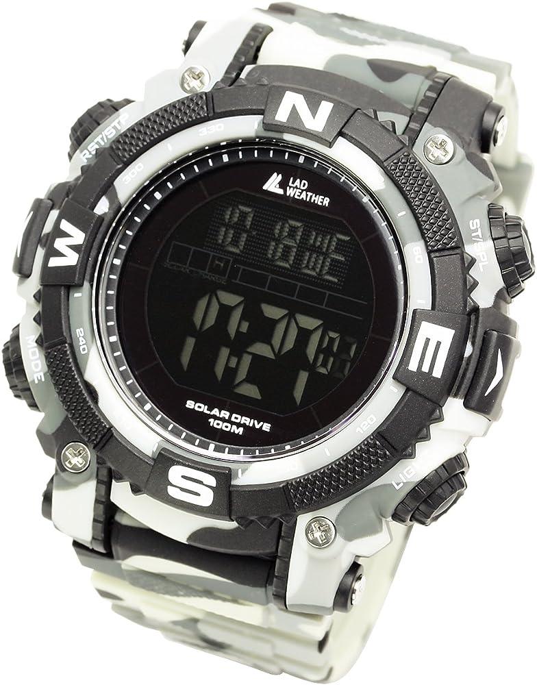 Lad Weather] Reloj Digital con potente batería solar resistente al ...