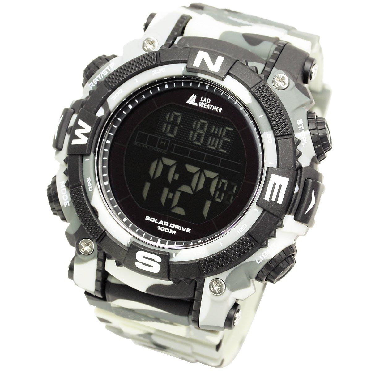 [Lad Weather] Reloj Digital con potente batería solar resistente al agua hasta 100metros. SmartWatch Militar para Exterior