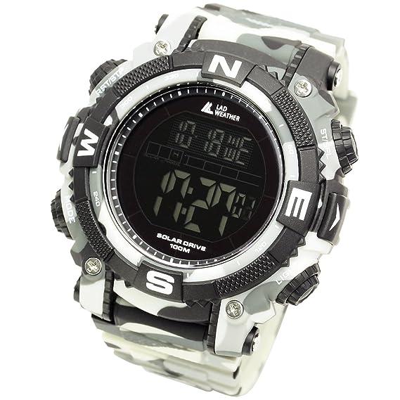 [Lad Weather] Reloj Digital con potente batería solar resistente al agua hasta 100 metros. SmartWatch Militar para Exterior: Amazon.es: Relojes