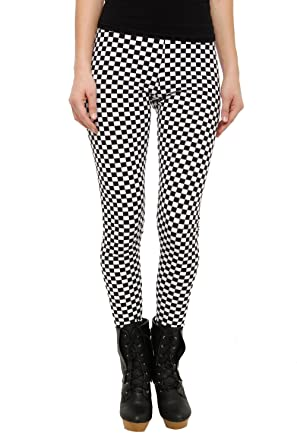 70f2979fb26b7 Amazon.com: Black And White Checkered Leggings Size : Small: Clothing