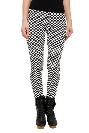 da5e349832714 Amazon.com  Black And White Checkered Leggings Size   Small  Clothing