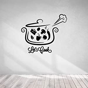 Cook Theme Sticker-Phrase Let's Cook Pan-Wall Decal Soup Food Kitchen-Kitchen Pizza Bar Restaurant Wall Stickers Decor-Removable Wall Decals-0-065BGN43-11x12.7 in