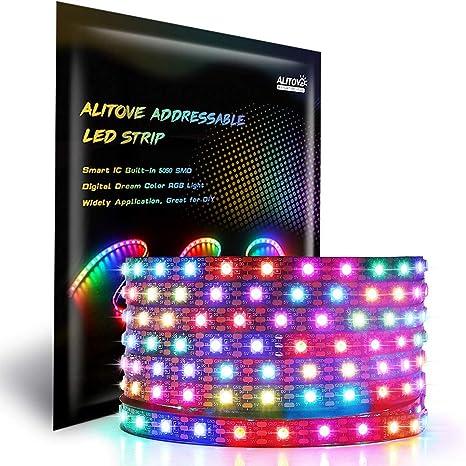 WS2812B IC Individual Addressable Dream Color RGB Strip Light 12V//5V 5M WS2811