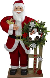 Northlight 3' Santa Claus Holding a Wooden Sleigh Welcome Christmas Sign, red (NORTHLIGHT TJ27581)