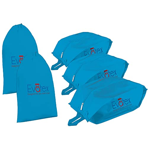 f76fd7d264c0 Evatex Packing Cubes Shoe Bag - 5 psc Set Travel Organizer, Waterproof,  Cosmetics/Laundry Bag