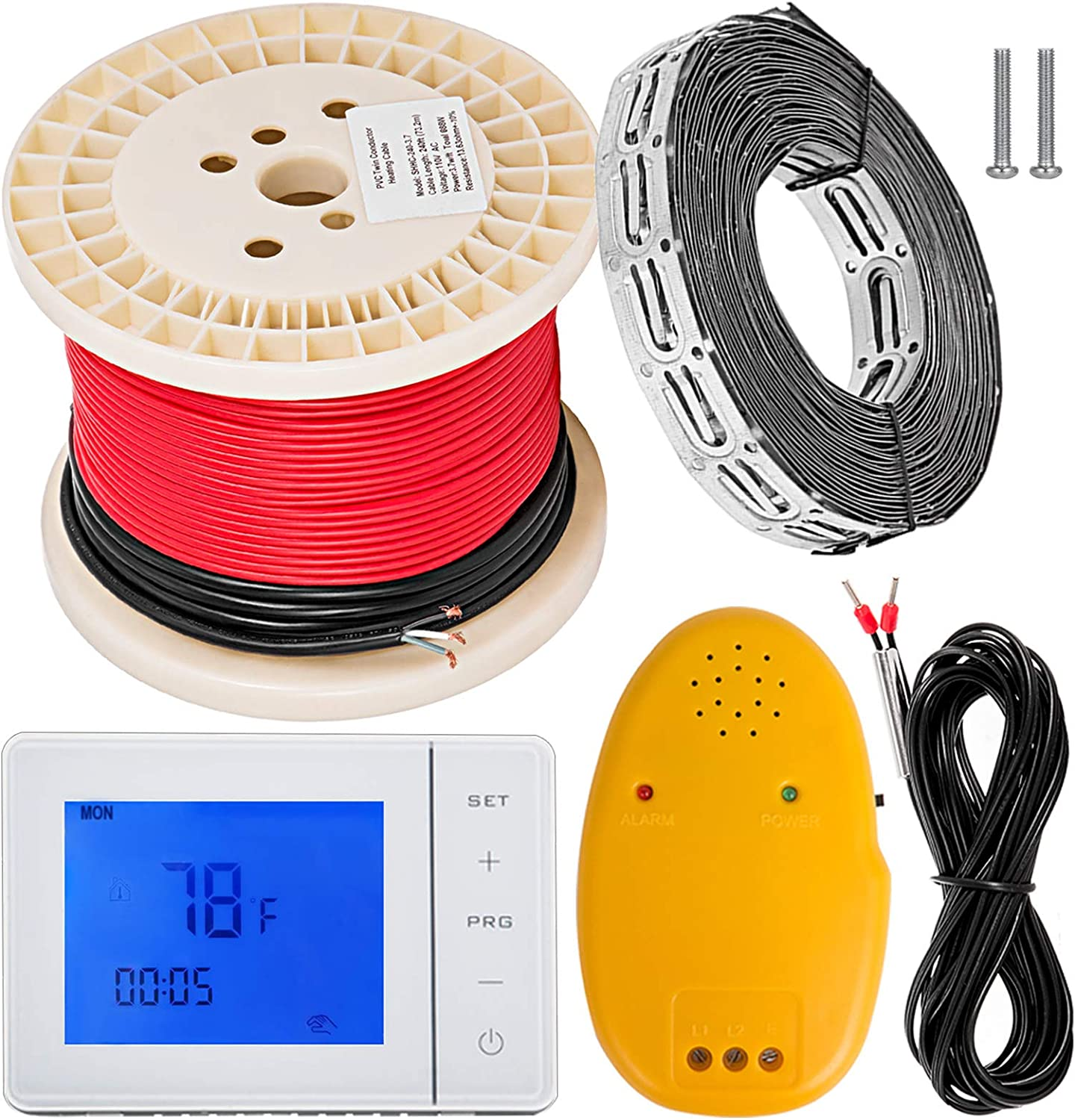 Happybuy 20 sqft Warming Cable Set 110V Electric Radiant Floor Heat Heating  Cable Kit Warming System 80ft long Heating Cable with Thermostat/Wire/Card  Strip/Temperature Control Alarm - - Amazon.comAmazon.com
