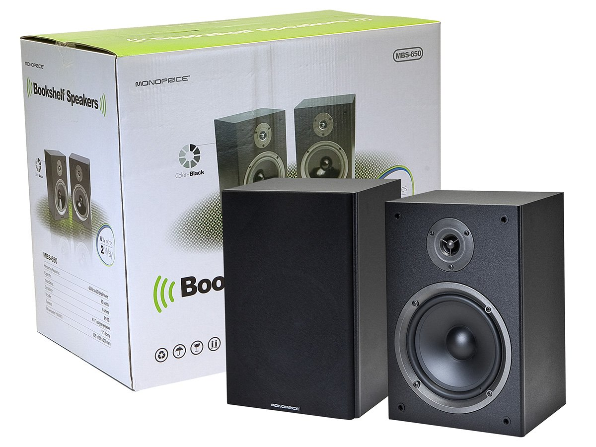 Amazon Monoprice 108250 2 Way Bookshelf Speakers Pair Home Audio Theater