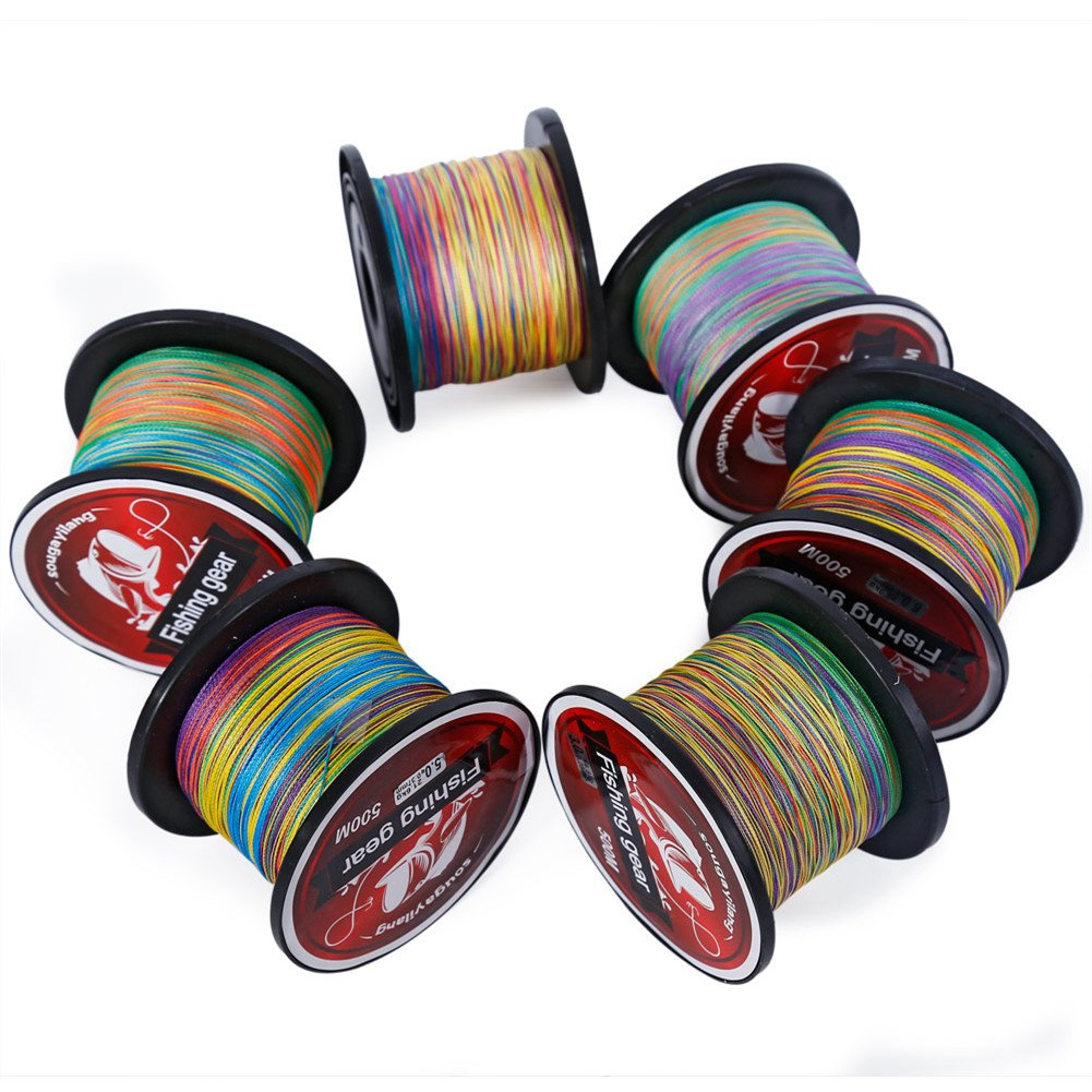 Sougayilang 500m/547Yards 4 Strands 12lb-72lb Multifilament Pe Superbraid and Braided Fishing Line - Multi Color.