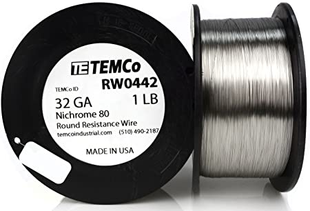 8347 ft Resistance AWG ga TEMCo Nichrome 60 series wire 32 Gauge 1.5 lb