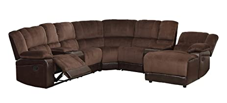 Homelegance 5 Piece Microfiber/Bonded Leather Sectional Reclining Sofa with Chaise Brown  sc 1 st  Amazon.com : sectional recliner sofas with chaise - islam-shia.org