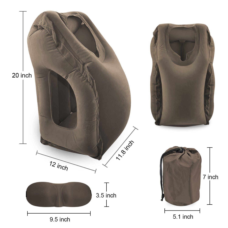Beflockung PVC Umweltfreundliche Materialien Reisekissen Einschlie/ßlich Schlafbrillen YOTEFUN Tragbare Nackenkissen Aufblasbare Kissen Nackenh/örnchen Kopfkissen Braun