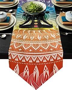 Cloud Dream Home Bohemian Yoga Zen Decor Mandala Table Runner for Morden Greenery Garden Wedding Party Table Setting Decorations 13x70inch