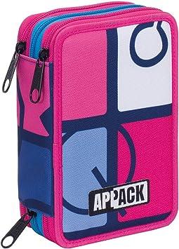 Estuche 3 Cremalleras Appack , Icon Set , Azul Rosa , Pisos con Contenido: Lápices, Rotuladores, Boligrafos ...: Amazon.es: Equipaje