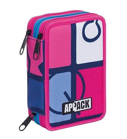 Estuche 3 Cremalleras Appack , Icon Set , Azul Rosa , Pisos ...