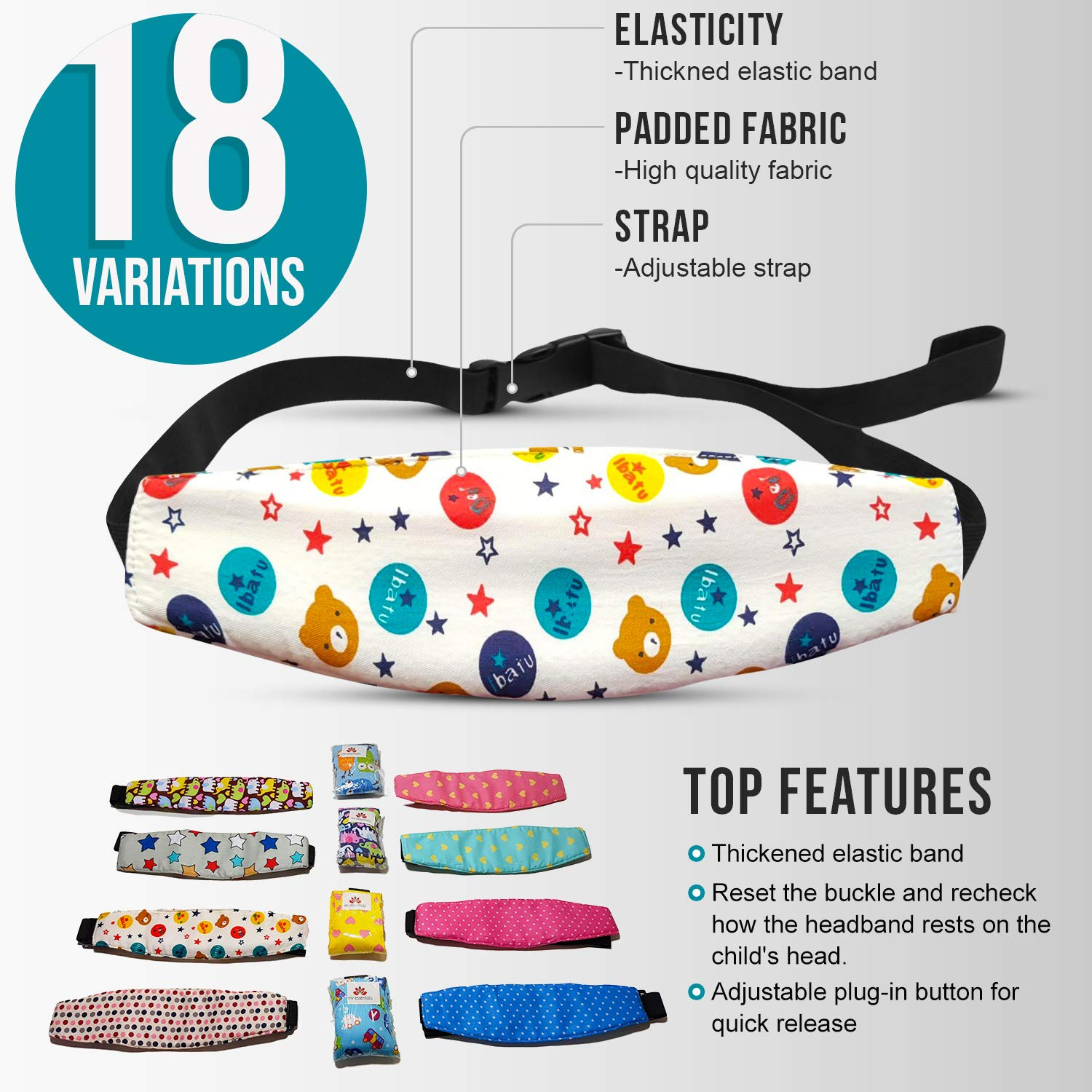 MV Essentials Baby Head Support Adjustable Strap Band for Car Seat Toddler Babies Toddlers Seats (Pink Stars Head Band)