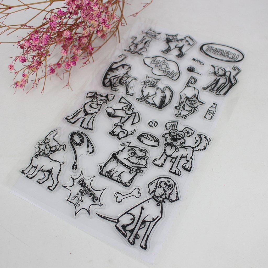 lyqdxd Cartoon Cat /& Dog DIY Silicone Clear Rubber Stamp Sheet Scrapbooking Album Craft