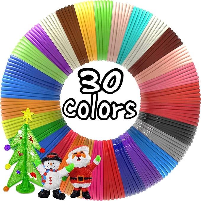 dikale 3D Pen Filament 30 Colors, 3D Pen Refills pla 1.75mm Bonus 250 Stencils eBooks 3D Pen Filament 1.75mm PLA for Tecboss LOVEBAY Nulaxy etc(Does Not Fit 3Doodler)