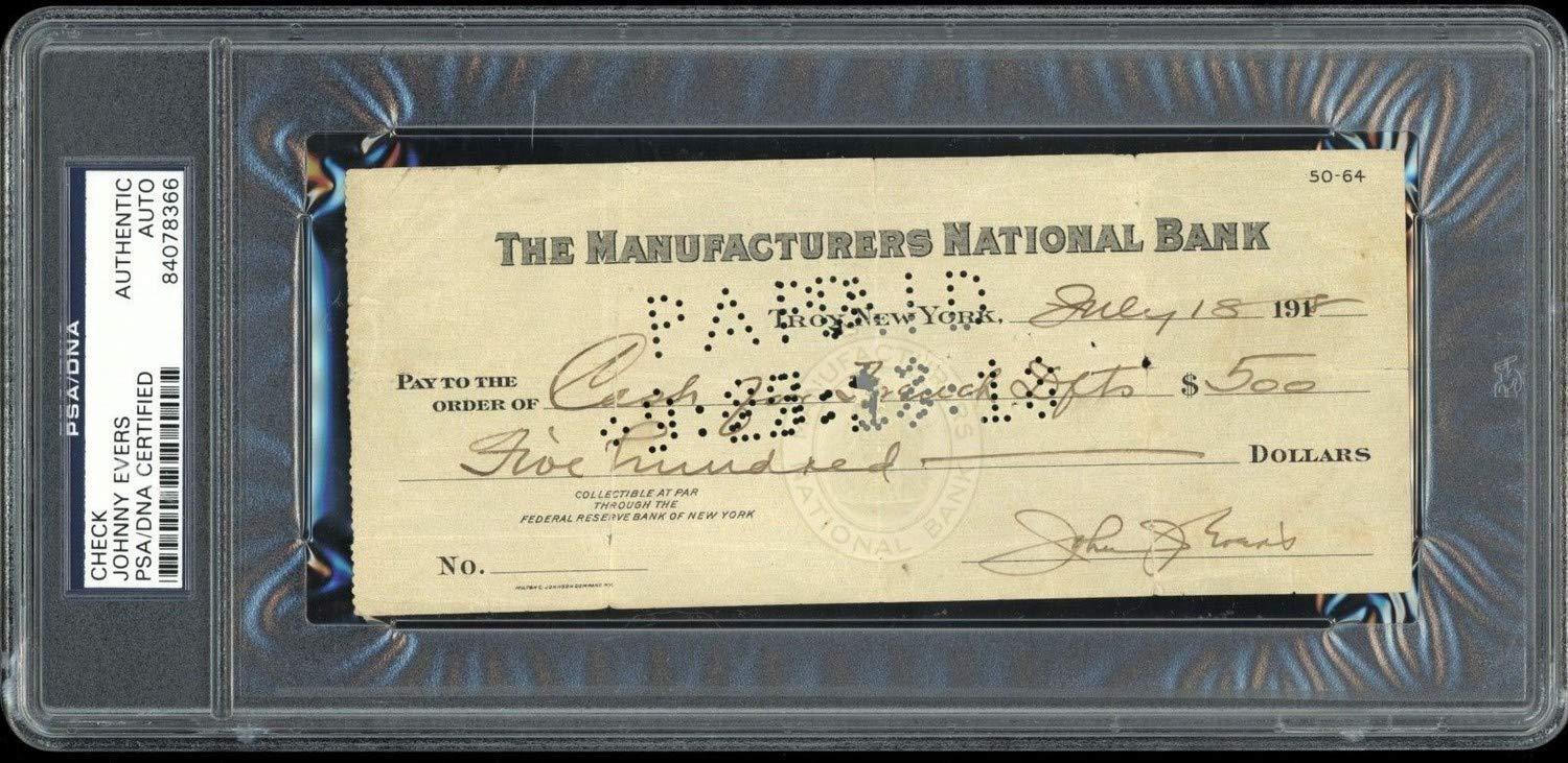 Johnny Evers Autographed Signed Cancelled Check Tinkers To Evers To Chance Rare Hof PSA/DNA