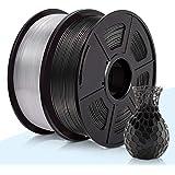 3D PLA Filament 1.75mm,3D Warhorse PLA Filament for 3D Printer Filament, Dimensional Accuracy +/- 0.02 mm,2 KG(Spool),Black & Transparent PLA,3D Printer Filament,1.75mm Filament