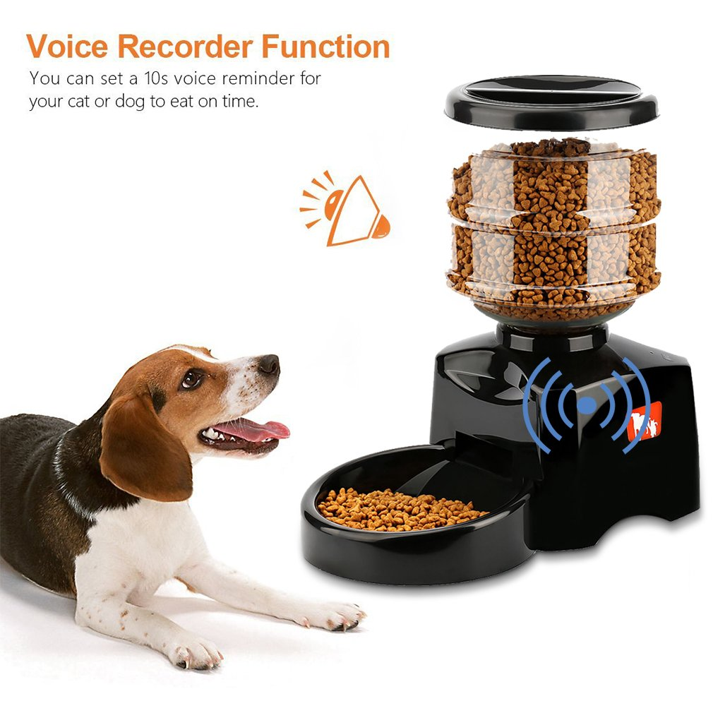 5.5L Automatic Pet Feeder Food Dispenser with Voice Recorder & Timer, High Capacity Portion Control, Electric Dog Dry Food Dispenser Bowl with Digital LCD Control Panel