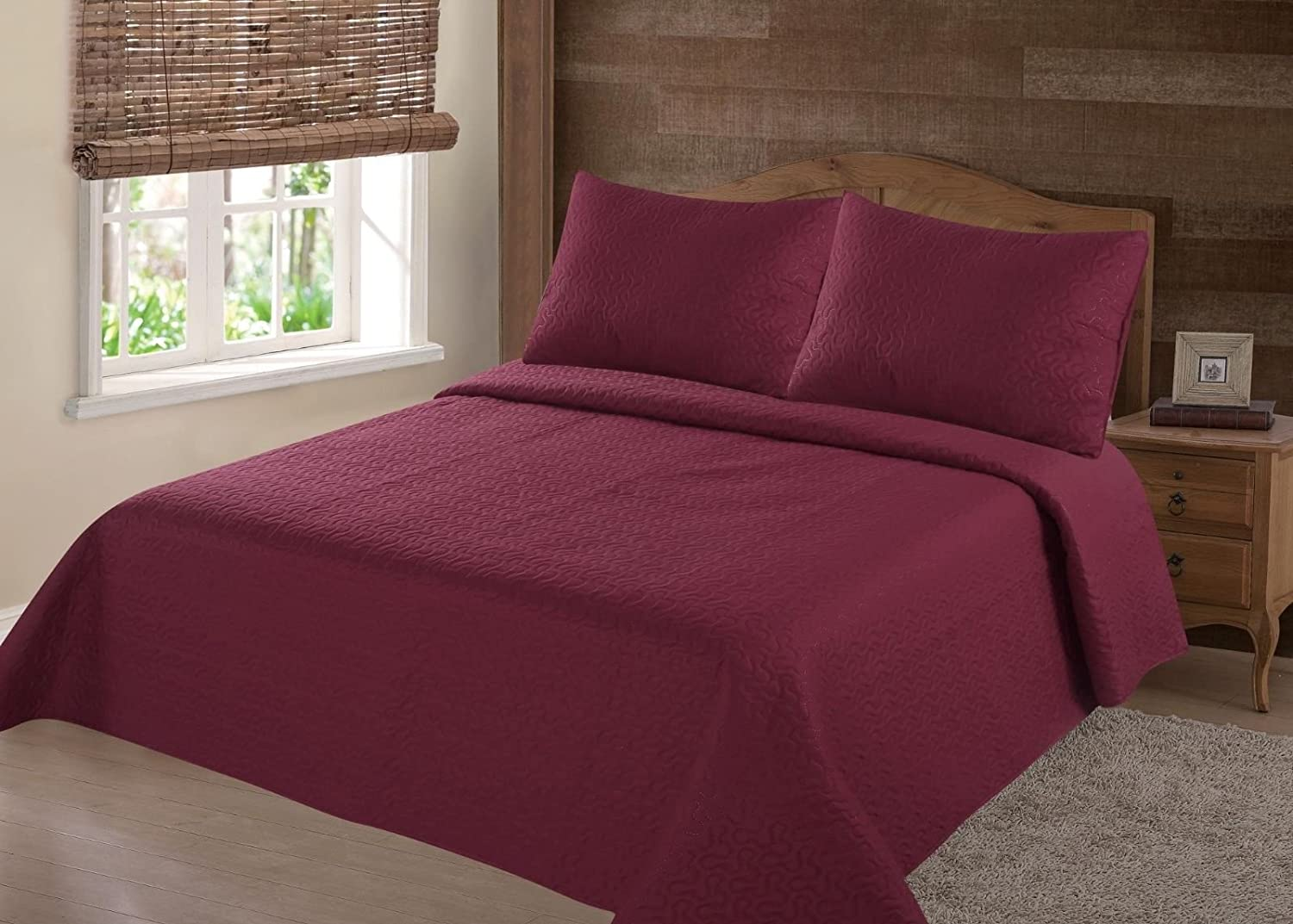 GorgeousHomeLinen (NENA) Burgundy Wine Solid Hypoallergenic Quilt Bedspread Bed Bedding Coverlets Cover Set with Pillow Cases Size inc: Twin (2pc) Full Queen King (3pc) (Full)