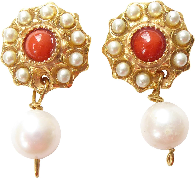 Pendientes de perlas de coral, naranja y rojo, pequeñas perlas de agua dulce, auténticas, pendientes alegres, hechos a mano, únicos italianos, ligeros, para mujeres y niñas