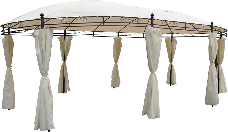 Pabellón ovalado 5, 3 x 3, 5 m Beige Protección Solar Jardín Carpa ...