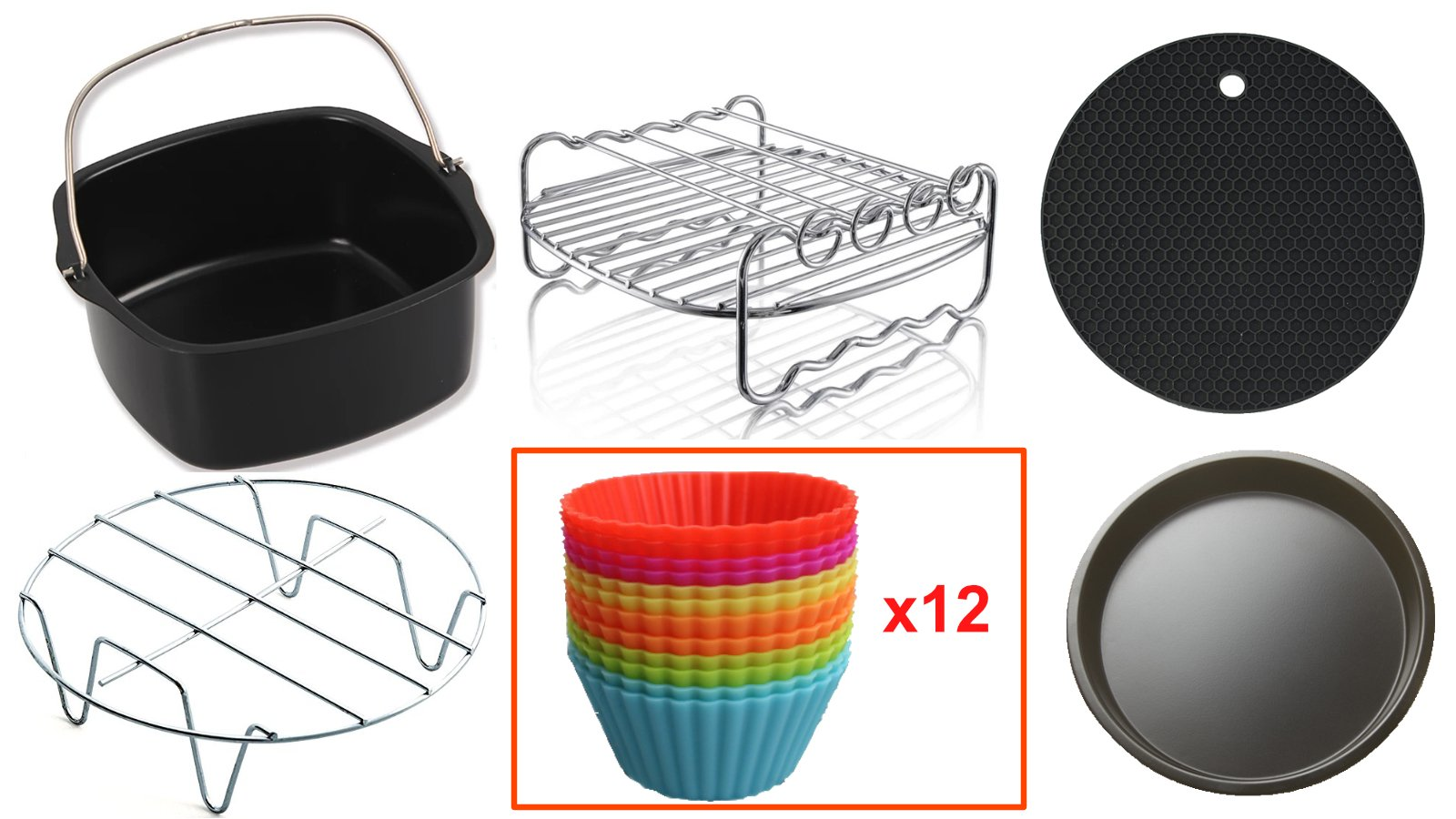 Air Fryer Accessories Compatible with Philips Avance/Viva,Cozyna,Gowise,Power Airfryer and more (Set of 17. Fits 3.7QT and above Air Fryers, Multi color)